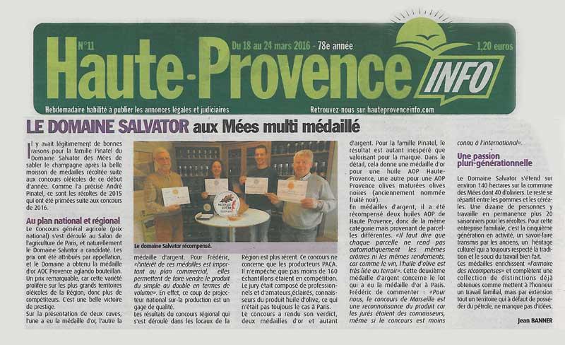Huile d 39 olive domaine salvator blog haute provence info for Haute provence info